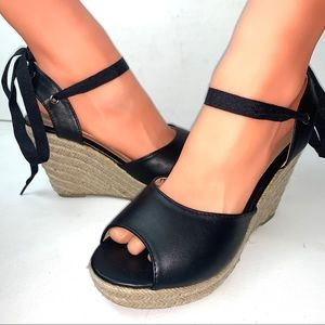 Womens sandals espadrille high wedge tie up size 7
